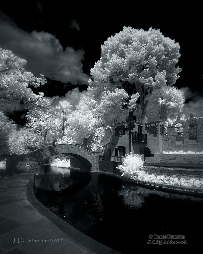 Rosita's Bridge, San Antonio, Texas (Infrared) ©2018 James D Peterson.  This bridge over the San Antonio River is dedicated to Rosita Fernandez, a singer of songs which helped build a bridge of understanding for the many cultures of this historic city.