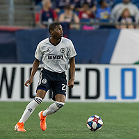 FOXBOROUGH, MA - JUNE 27: Raymon Gaddis #28 looks to pass during a game between Philadelphia Union and New England Revolution at Gillette Stadium on June 27, 2019 in Foxborough, Massachusetts.
