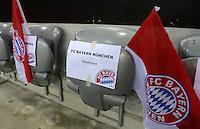 FUSSBALL   1. BUNDESLIGA  SAISON 2012/2013   15. Spieltag FC Bayern Muenchen - Borussia Dortmund     01.12.2012 Ein Schild;  FC Bayern Muenchen Reserviert, an einem Sitz auf der Tribuene der Allianz Arena.