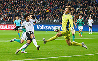 19th November 2019, Frankfurt, Germany; 2020 European Championships qualification, Germany versus Northern Ireland; Serge GNABRY, with a chance for a goal against Bailey PEACOCK (NIrl)