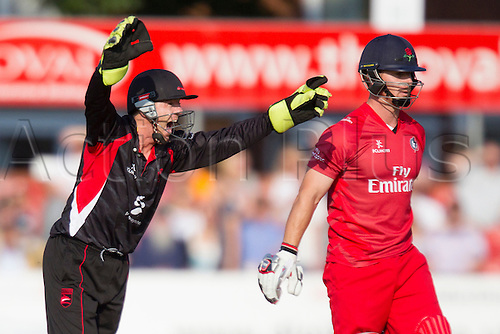 11.07.2014. Leicester, England. NatWest T20 Blast, Leicestershire Foxes vs Lancashire Lightning. NJ O'BRIEN (Leicestershire Foxes) appeals for a wicket.