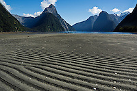 Low tide, Milford Sound, Fiordland national park, New Zealand