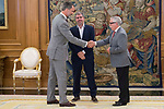 King Felipe VI of Spain receive in Royal Audience to Secretary General of CCOO, Unai Sordo Calvo (C) and previous Secretary General of CCOO, Ignacio Fernandez Toxo (R) at Zarzuela Palace in Madrid, July 24, 2017. Spain.<br /> (ALTERPHOTOS/BorjaB.Hojas)