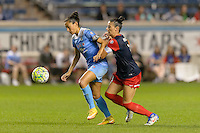 Chicago, IL - Saturday Sept. 24, 2016: Christen Press, Ali Krieger during a regular season National Women's Soccer League (NWSL) match between the Chicago Red Stars and the Washington Spirit at Toyota Park.