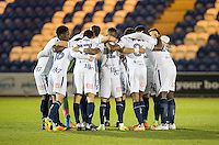 Wycombe pre match team huddle during the Sky Bet League 2 match between Colchester United and Wycombe Wanderers at the Weston Homes Community Stadium, Colchester, England on 21 February 2017. Photo by Andy Rowland / PRiME Media Images.