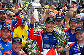 Verizon IndyCar Series<br /> Indianapolis 500 Race<br /> Indianapolis Motor Speedway, Indianapolis, IN USA<br /> Sunday 28 May 2017<br /> Takuma Sato, Michael Andretti Autosport Honda celebrates the win in Victory Lane with milk<br /> World Copyright: Scott R LePage<br /> LAT Images<br /> ref: Digital Image lepage-170528-indy-10659<br /> ref: Digital Image lepage-170528-indy-10673
