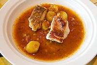 "Singapore. Marina Bay Sands. SANTI restaurant combines Mediterranean culture with the authentic taste of the Catalan region in Spain..Suquet ""Costa Brava"" (Catalan fish stew with Iranian saffron)"