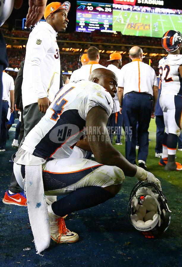 Feb 7, 2016; Santa Clara, CA, USA; Denver Broncos defensive end DeMarcus Ware (94) reacts against the Carolina Panthers in Super Bowl 50 at Levi's Stadium. Mandatory Credit: Mark J. Rebilas-USA TODAY Sports