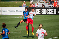Kansas City, MO - Wednesday August 16, 2017: Yael Averbuch, Yuki Nagasato during a regular season National Women's Soccer League (NWSL) match between FC Kansas City and the Chicago Red Stars at Children's Mercy Victory Field.