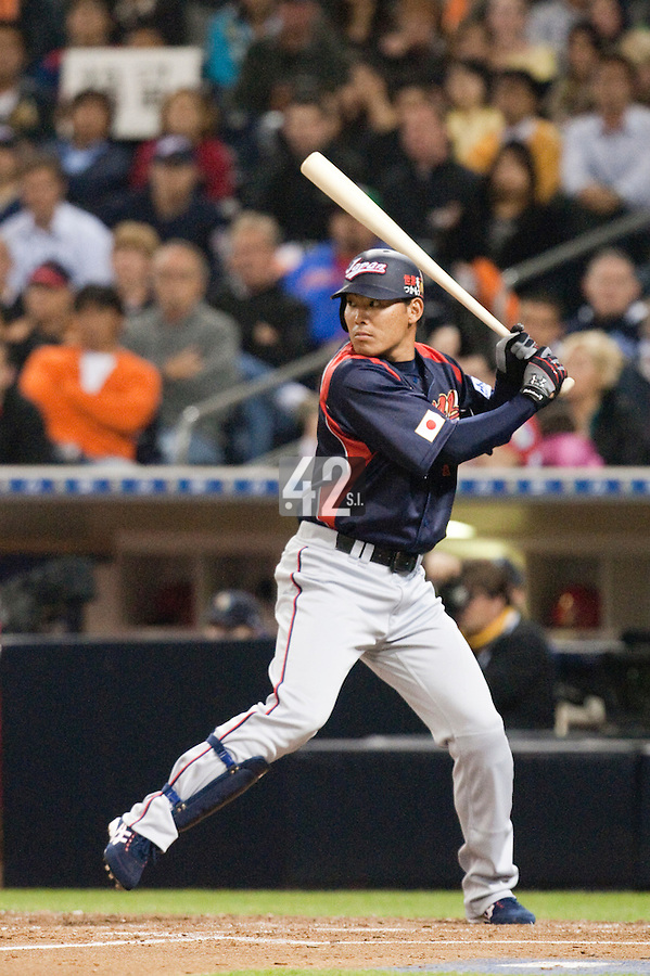 18 March 2009: #1 Kosuke Fukudome of Japan is seen at bat during the 2009 World Baseball Classic Pool 1 game 5 at Petco Park in San Diego, California, USA. Japan wins 5-0 over Cuba.