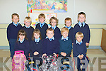 SMILES: Smiles by Junior Infants as they started school on Tuesday in Bouleenshere NS. Front l-r: Alannah Stritch, Gemma Gierin, Matthew Boyle, Simaon Corridon and Darragh O Fuarain. Back l-r: Dara Kearney, Denis Lynch, Adam Dineen, Se?amus Lucey, darragh Donnelly and David O'Sullivan. ... ....