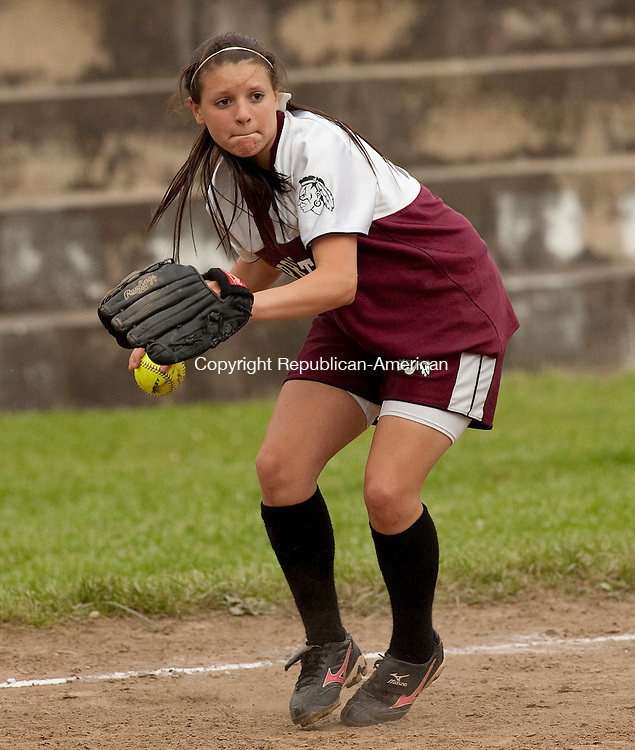 WATERBURY CT- MAY 17 2010-051710JS01-Torrington's Baylee Vinisko (10) prepares to throw out a runner during their game against Kennedy Monday at Kennedy High School in Waterbury.<br /> Jim Shannon Republican-American