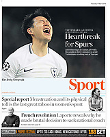 Daily Telegraph - 08-Mar-2018 - 'Heartbreak for Spurs' - Photo by Rob Newell (Camerasport via Getty Images)