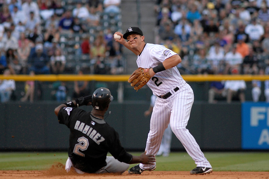 03 July 2008: Colorado Rockies shortstop Troy Tulowitzki turns a double play while Florida Marlins shortstop Hanley Ramirez slides into 2nd base. The Rockies defeated the Marlins 6-5 in 11 innings at Coors Field in Denver, Colorado. FOR EDITORIAL USE ONLY. FOR EDITORIAL USE ONLY
