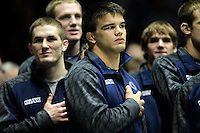 STATE COLLEGE, PA - FEBRUARY 16: Morgan McIntosh of the Penn State Nittany Lions stands on the mat before a match against the Oklahoma State Cowboys on February 16, 2014 at Rec Hall on the campus of Penn State University in State College, Pennsylvania. Penn State won 23-12. (Photo by Hunter Martin/Getty Images) *** Local Caption *** Morgan McIntosh