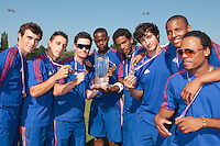 22 August 2010: Andy Pitcher, Matt Lapinski, Jorge Hereaud, Jean Antonio Samer, David Van Heyningen, Eloi Secleppe, Andy Paz, Gary Garcia Martinez pose with the trophy at the 2010 European Championship, under 21, in Brno, Czech Republic.