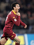 Calcio, Serie A: Roma vs Milan. Roma, stadio Olimpico, 22 dicembre 2012..AS Roma defender Nicolas Burdisso, of Argentina, celebrates after scoring during the Italian Serie A football match between AS Roma and AC Milan at Rome's Olympic stadium, 22 December 2012.UPDATE IMAGES PRESS/Riccardo De Luca