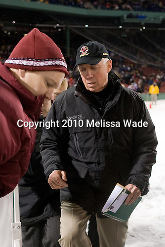 John Hegarty (BC - Dir-Hockey Operations), Jerry York (BC - Head Coach) - The Boston University Terriers defeated the Boston College Eagles 3-2 on Friday, January 8, 2010, at Fenway Park in Boston, Massachusetts, as part of the Sun Life Frozen Fenway doubleheader.