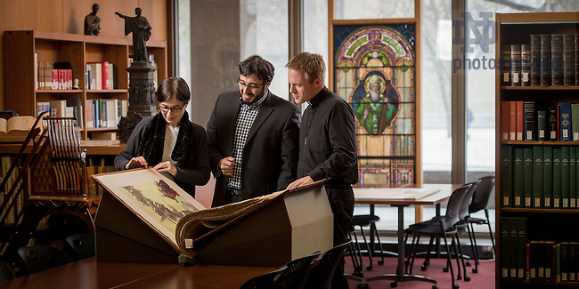 Feb. 9, 2016; NDIAS fellows in the Rare Book Room. (Photo by Matt Cashore/University of Notre Dame)