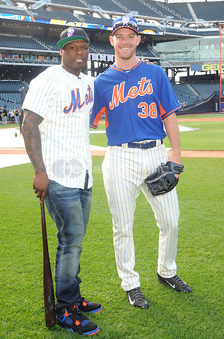 New York, NY- May 27:  Curtis &quot;50 Cent&quot; Jackson gets together with NY Mets  pitcher Vic Black on his visit to Citi Field on May 27, 2014 in support of his upcoming post-game concert at Citi-Field in Flushing, New York. <br /> Credit: John Palmer/MediaPunch