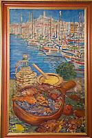 """Europe/France/Provence-Alpes-Côte d'Azur/13/Bouches-du-Rhône/Marseille: Restaurant """"Miramar"""" 12 quai du Port Détail d'un tableau de la salle du restaurant représentant la Bouillabaisse"""