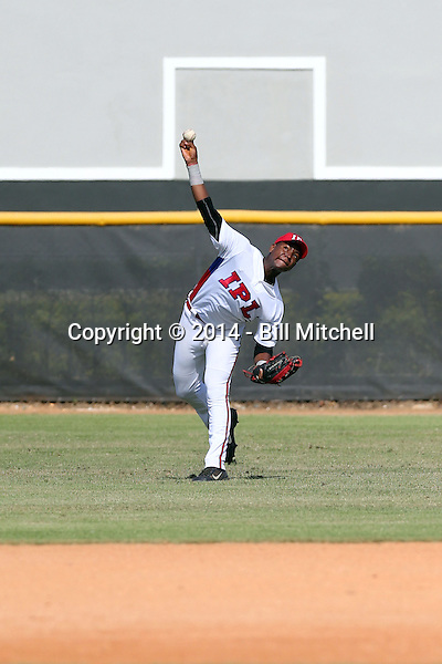 Israel Moreno participates in the International Prospect League Showcase at the New York Yankees academy in Boca Chica, Dominican Republic on January 24, 2014 (Bill Mitchell)