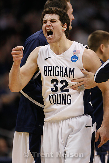 Trent Nelson  |  The Salt Lake Tribune.BYU's Jimmer Fredette celebrates as BYU defeats Gonzaga in the NCAA Tournament, men's college basketball at the Pepsi Center in Denver, Colorado, Saturday, March 19, 2011, earning a trip to the Sweet 16.