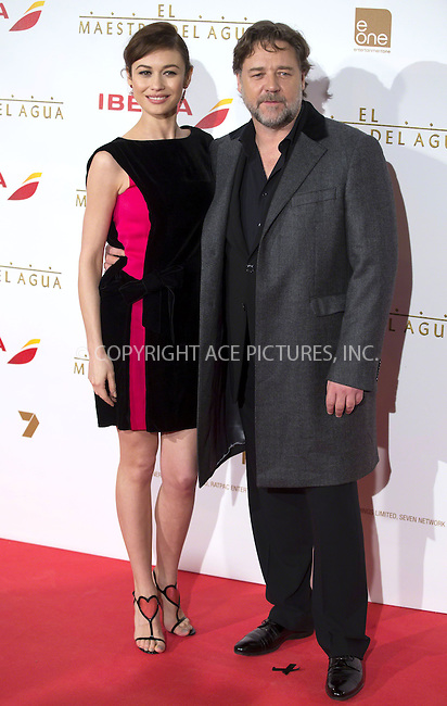 WWW.ACEPIXS.COM<br /> <br /> March 26 2015, Madrid<br /> <br /> Russell Crowe and Olga Kurylenko at the premiere of 'The Water Diviner' at the Callao cinema on March 26 2015 in Madrid, Spain<br /> <br /> By Line: Famous/ACE Pictures<br /> <br /> <br /> ACE Pictures, Inc.<br /> tel: 646 769 0430<br /> Email: info@acepixs.com<br /> www.acepixs.com