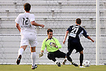 19 May 2012: Carolina's Brian Shriver (21) scores the second of his three first half goals past PSA Elite's Trevor Whiddon (in green). The Carolina RailHawks (NASL) defeated the PSA Elite (USASA) 6-0 at WakeMed Soccer Stadium in Cary, NC in a 2012 Lamar Hunt U.S. Open Cup second round game.
