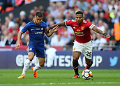 19th May 2018, Wembley Stadium, London, England; FA Cup Final football, Chelsea versus Manchester United; Eden Hazard of Chelsea puts pressure on Antonio Valencia of Manchester United