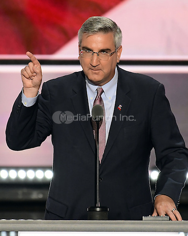Lt. Governor Eric Holcomb (Republican of Indiana) places the name of Governor Mike Pence (Republican of Indiana) into nomination as the party's nominee as Vice President of the United States  at the 2016 Republican National Convention held at the Quicken Loans Arena in Cleveland, Ohio on Tuesday, July 19, 2016.<br /> Credit: Ron Sachs / CNP/MediaPunch<br /> (RESTRICTION: NO New York or New Jersey Newspapers or newspapers within a 75 mile radius of New York City)