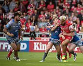 June 4th 2017, AJ Bell Stadium, Salford, Greater Manchester, England;  Rugby Super League Salford Red Devils versus Wakefield Trinity; Junior Sa'u of Salford barges through the Wakefield line