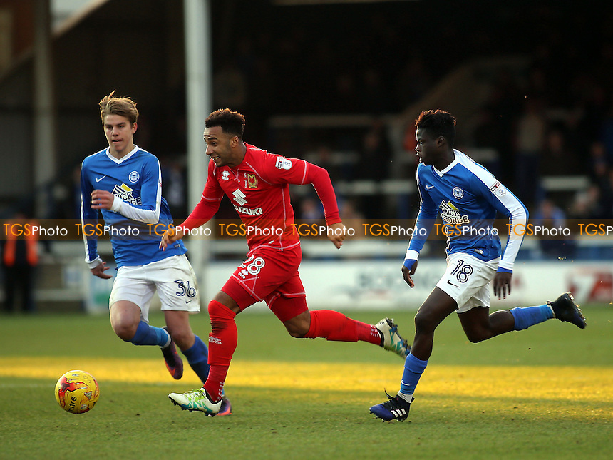Nicky Maynard of MK Dons races upfield during Peterborough United vs MK Dons, Sky Bet EFL League 1 Football at London Road on 28th January 2017