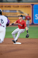 Erie SeaWolves second baseman Kody Clemens (8) waits for a throw down on a stolen base attempt during an Eastern League game against the Akron RubberDucks on August 30, 2019 at Canal Park in Akron, Ohio.  Erie defeated Akron 3-2.  (Mike Janes/Four Seam Images)