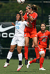 20 September 2009: North Carolina's Ranee Premji (CAN) (30) and Auburn's Katy Frierson (right) challenge for a header. The University of North Carolina Tar Heels played the Auburn University Tigers to a 0-0 tie after overtime at Koskinen Stadium in Durham, North Carolina in an NCAA Division I Women's college soccer game.