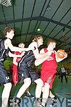 Andrew Fitzgerald St Pauls Eamon John O'Donoghue St Mary's in action during the Division 1 Mens Final at the St Mary's basketball blitz in Castleisland Community Centre on Tuesday