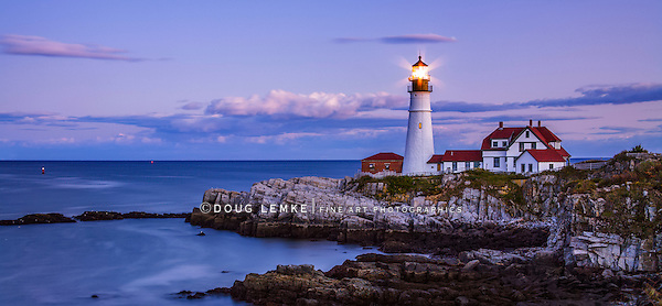 The Benevolent Sentinel, The Portland Head Light After Sunset, Portland Maine, USA, Panoramic View