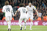 Real Madrid's Luka Modric, Marcelo Vieira and Karim Benzema celebrate goal during La Liga match. April 2,2016. (ALTERPHOTOS/Acero)