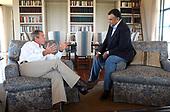 United States President George W. Bush meets with Ambassador Prince Bandar bin Sultan of Saudi Arabia at the Bush Ranch in Crawford, Texas, Tuesday, Aug. 27, 2002.<br /> Mandatory Credit: Eric Draper / White House via CNP