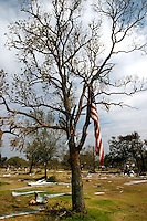 On a tree in Chambers County, east of Galveston Bay, an American flag hangs from a tree after Hurricane Ike blew through the area in 2008.