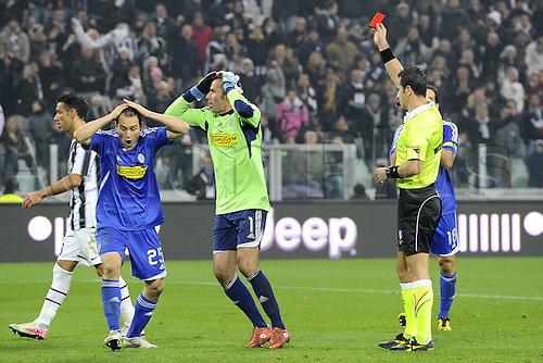 04 12 2011 Turin, Italy.  Series A Juventus versus Cesena Photo shows as the referee red cards Francesco Antonioli