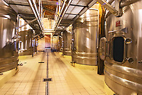 The winery with stainless steel fermentation tanks  Chateau Thieuley La Sauve Majeure  Entre-deux-Mers  Bordeaux Gironde Aquitaine France