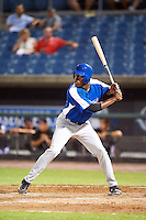 Kevin Woods Jr #23 of Fort Mill High School in Fort Mill, South Carolina playing for the Toronto Blue Jays scout team during the East Coast Pro Showcase at Alliance Bank Stadium on August 2, 2012 in Syracuse, New York.  (Mike Janes/Four Seam Images)