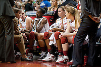 INDIANAPOLIS, IN - APRIL 3, 2011: Head Coach Tara VanDerveer talks to the team during the NCAA Final Four against Texas A&M at Conseco Fieldhouse  in Indianapolis, IN on April 1, 2011.