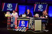 Los Angeles, CA - Thursday January 12, 2017: Mark Rogondino, Jen Cooper, Aly Wagner<br />  prior to the 2017 NWSL College Draft at JW Marriott Hotel.
