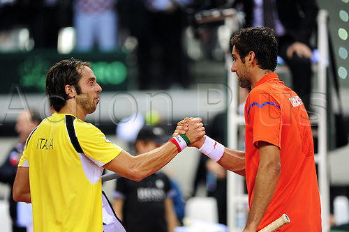 01.02.2013 Turin, Italy. Marin Cilic of Croatia wins the first match during the opening round tie of the Davis Cup between Italy and Croatia from Palavela.