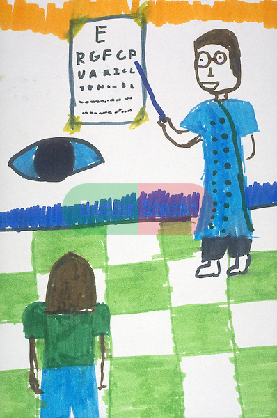 child's rudimentary drawing of girl reading eye chart with eyeball underneath while doctor with glasses points to chart