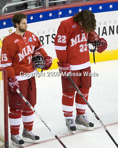 Brian Kaufman (Miami - 15), Justin Vaive (Miami - 22) - The Boston University Terriers defeated the Miami University RedHawks 4-3 in overtime to win the 2009 NCAA D1 National Championship at the Frozen Four on Saturday, April 11, 2009, at the Verizon Center in Washington, DC.