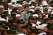 Coronado, Calif. (Aug. 30, 2005) - A young boy perches on his father's shoulders to watch President George W. Bush deliver a speech on board Naval Air Station (NAS) North Island. President Bush visited NAS North Island to commemorate the 60th anniversary of the allied forces victory over Japan (VJ Day) during World War II. <br /> Mandatory Credit: Aaron Burden / US Navy via CNP