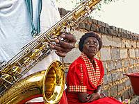 Abraham plays Coltrane in his private Jazzclub in his backyard, Township of Mamelodi, Pretiria, SA 2009